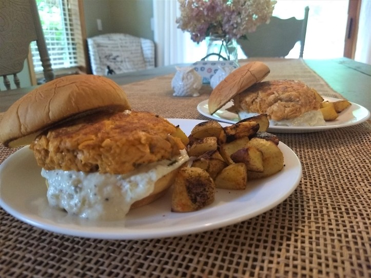 Blue Apron salmon burger complete meal
